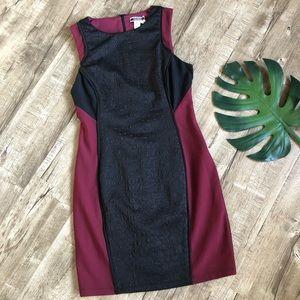 Nikibiki Wine Black Color-block body-con Dress